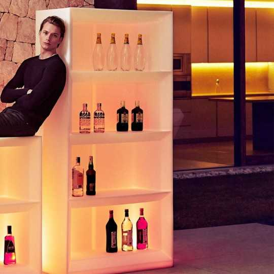 Vela H200 RGB - Lighting Bar Shelving System (yellow light shown here) by Vondom