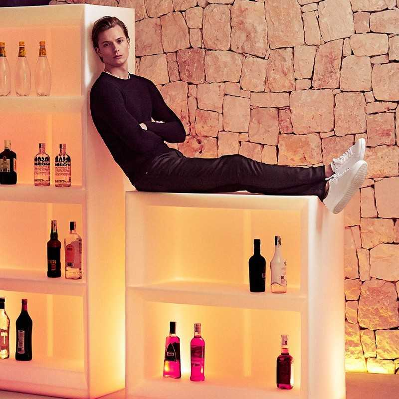 Vela H100 RGB - Bar Shelves with illumination feature by Vondom
