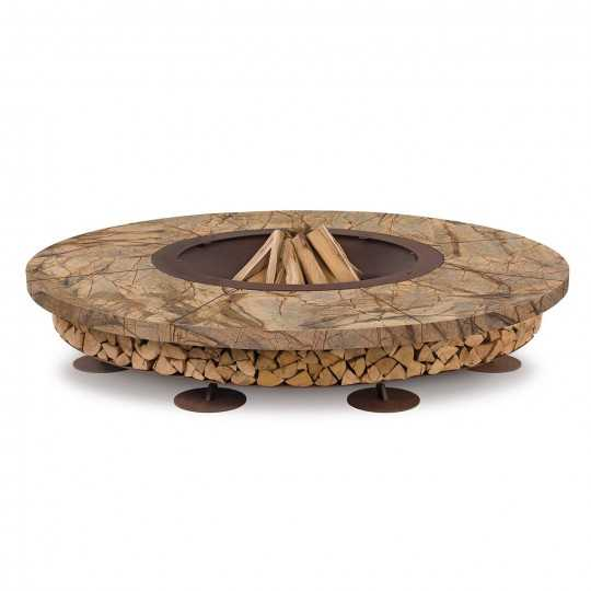 Ercole Rainforest Brown 250 - Outdoor Fire Pit Marble Brown - AK47