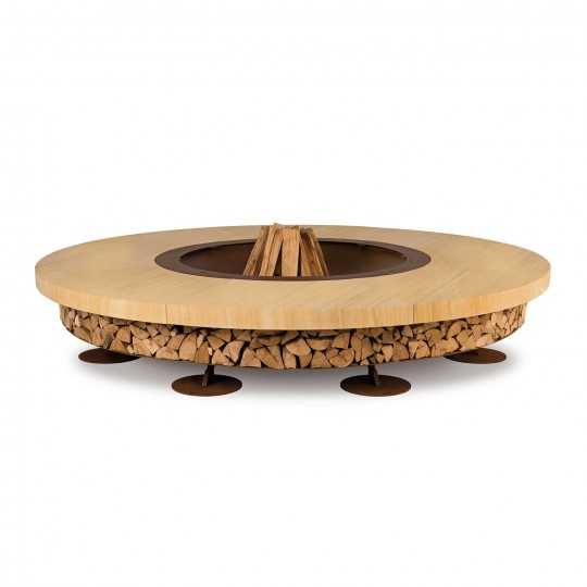Ercole Teakwood Marble 250 - Outdoor Fire Pit Teakwood Marble - AK47