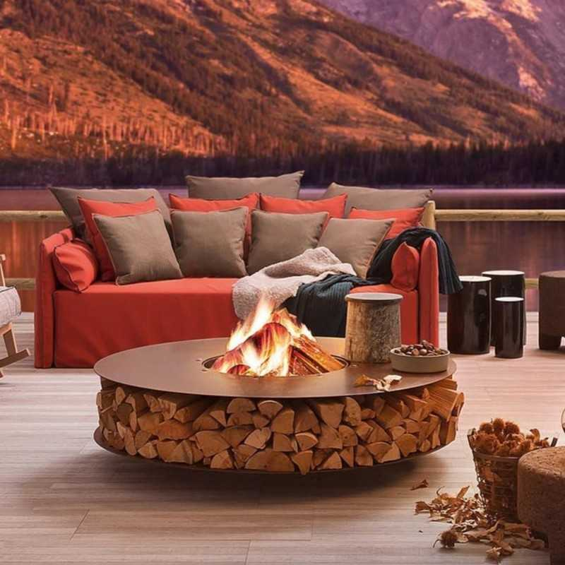 ZERO 150 Outdoor Corten Steel Fire Pit 150 cm Diameter - Outdoor Corten Steel Fire Pit Ø 150 Cm - ZERO 150 By AK47
