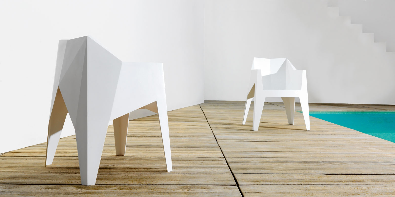 Voxel Minimal Mono Block Polycarbonate Stackable Chair By