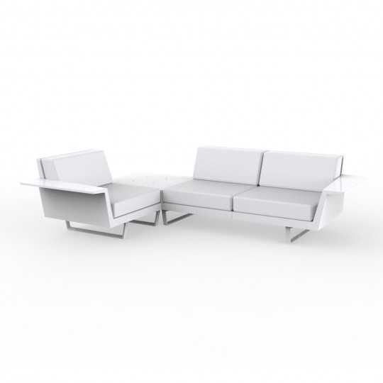 Flat Corner Sofa with Table and Lacquered Finish by Vondom