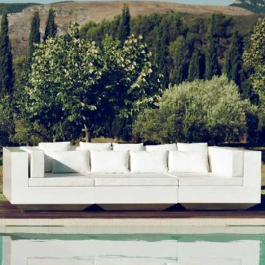 Vela Sofa Chaiselongue Lacquered - Outdoor Sectional Armless Couch with Right and left Daybed - Vondom