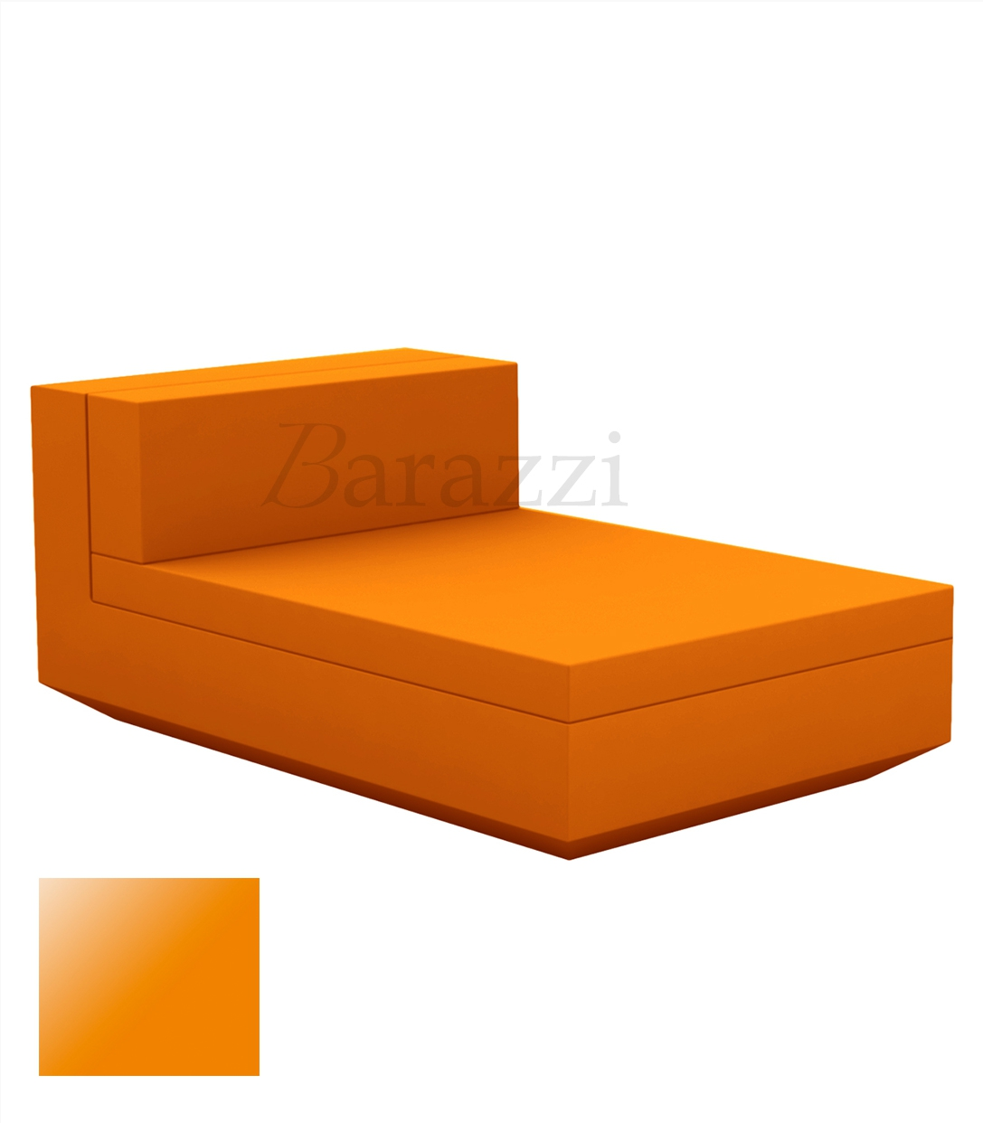 Outdoor lacquered and armless chaiselongue vela sofa by vondom for Chaise longue orange
