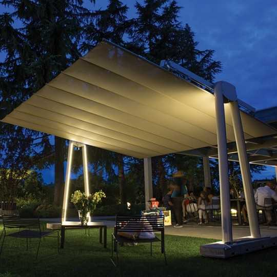 Flexy XL Giant Free Standing and Retractable Awning Umbrella with LED Lights (optional)