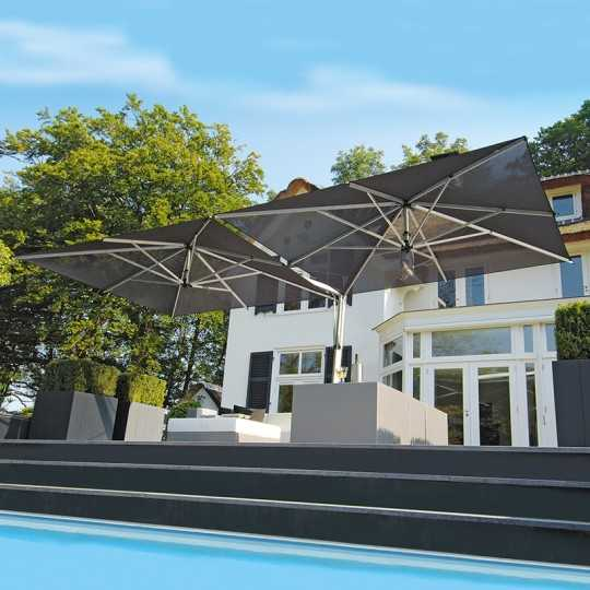 Doppio Double Offset Terrace Umbrella for Professional Use
