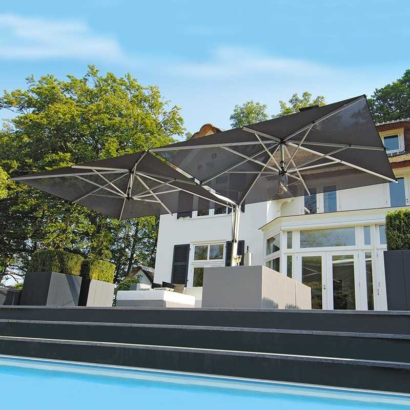 Doppio double offset terrace umbrella for professional use for Terrace umbrellas