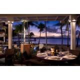 Falo Evo Outdoor Gas Heater with Rust Finish on a Hotel Bar Restaurant Terrace