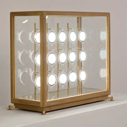 TEKA Teck and Brass Showcase Table Lamp with 15 OLED lights