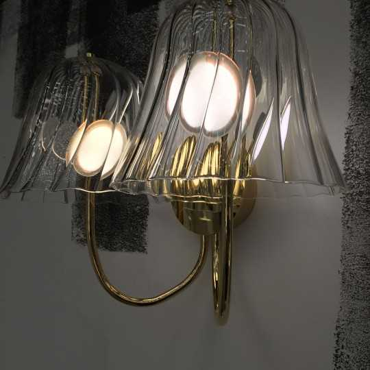 OMIKAMI II Wall Sconce Chandelier with Blown Glass Lampshades and OLEDs