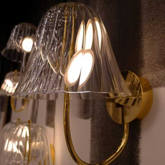 OMIKAMI I Wall Lamp with Bell-Shaped Striped Blown Glass Lampshade and OLEDs