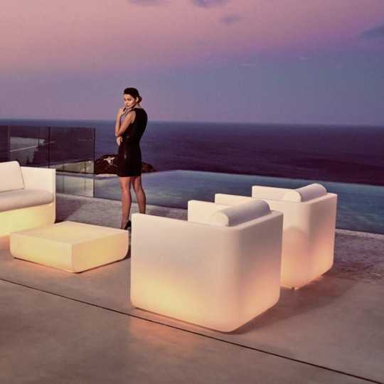 ULM Armchair Luz - Outdoor Polyethylene Lounge Armchair with White LED Light