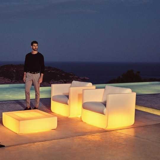 ULM Armchair RGB - Outdoor Polyethylene Armchair with Multicolor LED Light