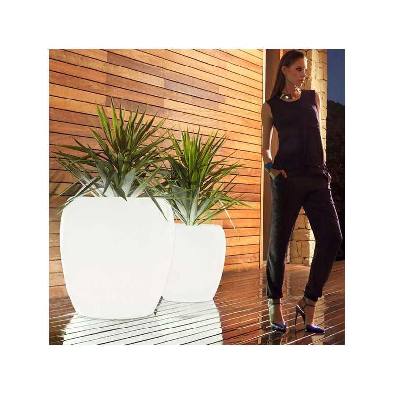 BLOW Pot 80 - Big Design Outdoor Polyethylene Planter with White LED Light