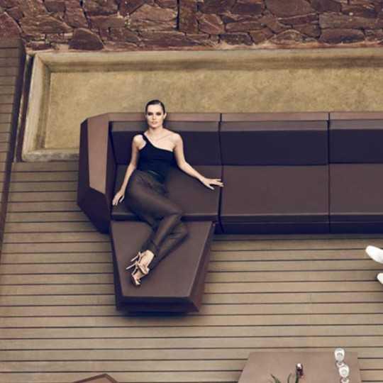Lacquered Faz Sofa Sectional Right Bronze Vondom