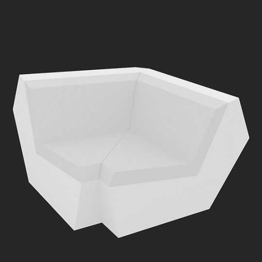 Faz Sofa Corner 90 White Led Light Seat by Vondom