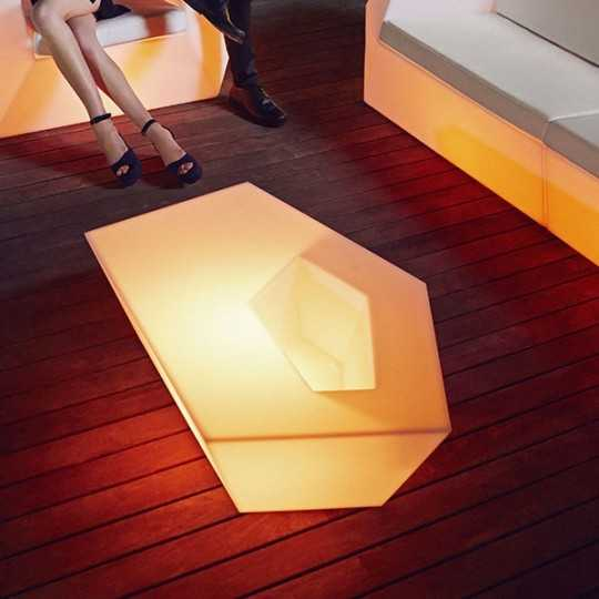 Faz Coffee Table RGB - Outdoor Contemporary Table with Multicolor LED Light and Flower Pot