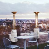 Dolce Vita Gas Outdoor Heaters with LED Lighting kit (optional) on a Bar Restaurant Terrace