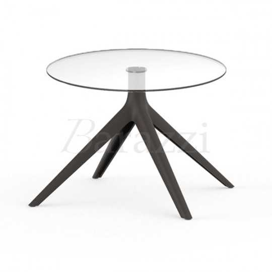 MARI-SOL Bronze Coffee Table with Round Glass Table Top for Bars Restaurants Hotels