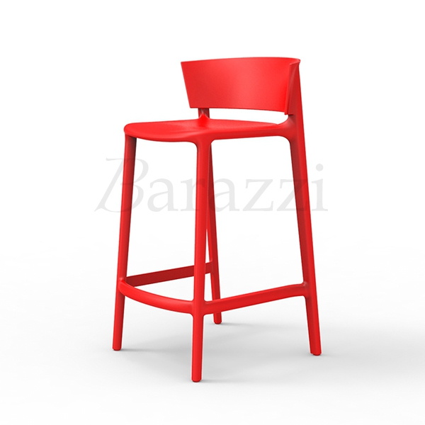 AFRICA 85 Stackable Bar Stool With Backrest By Vondom