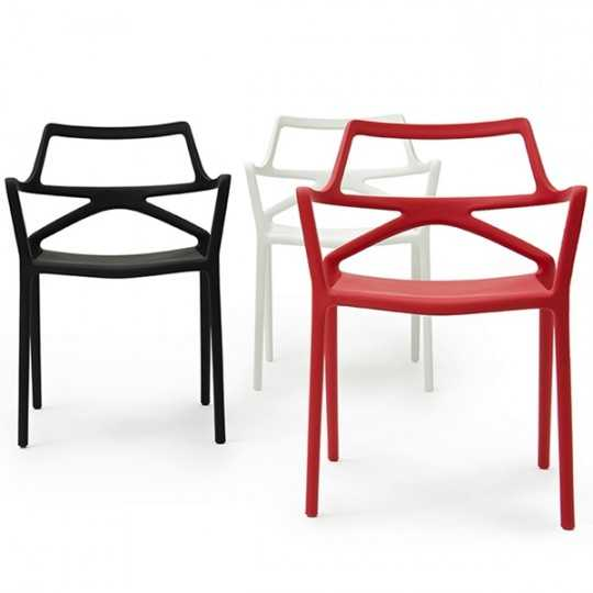DELTA Chair Stackable Seat White Black Red Color Vondom