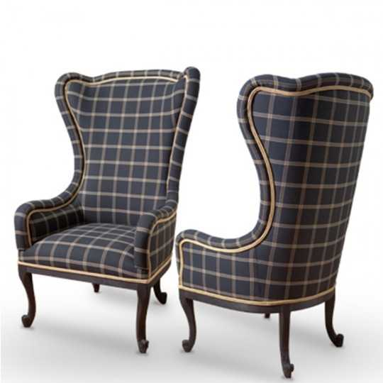 APPEAL Baroque Armchair Seat with High Backrest and Classic Tartan fabric