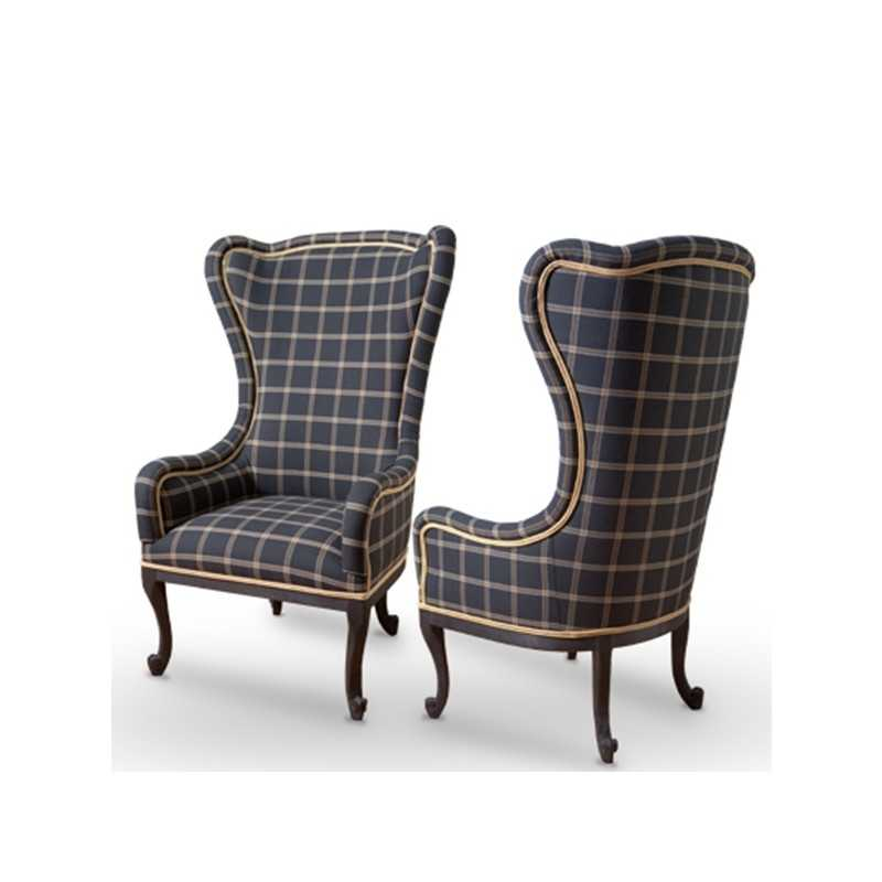 Charmant APPEAL Baroque Armchair Seat With High Backrest And Classic Tartan Fabric