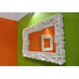 Mirror M Lacquered Color White Baroque Mirror of Love Slide Design