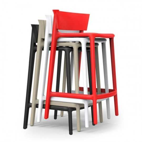 AFRICA 85 Stackable Bar Stools with Backrest by Vondom