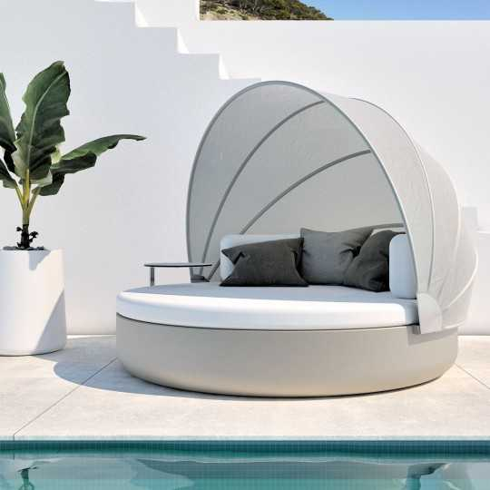 ULM Daybed Round Igloo Garden Bed with Articulated Canopy by Vondom