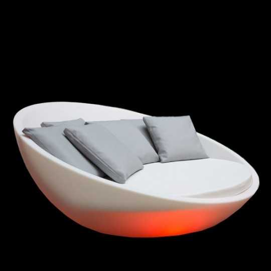 Colorful Round Lighting Pool Bed, Orange Light