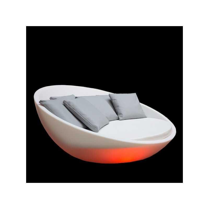 Colorful Round Lighting Pool Bed, Orange Light