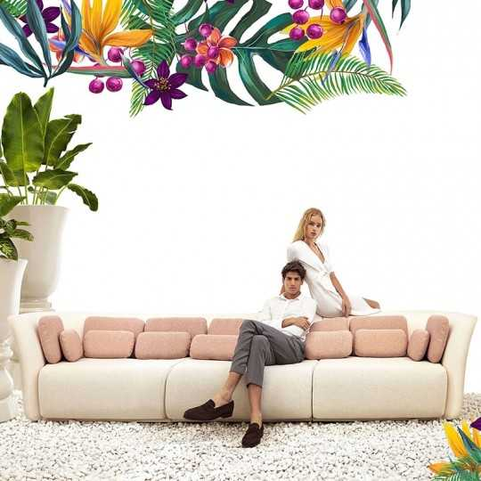SUAVE SOFA Three Seater Outdoor Fabric Couch - VONDOM