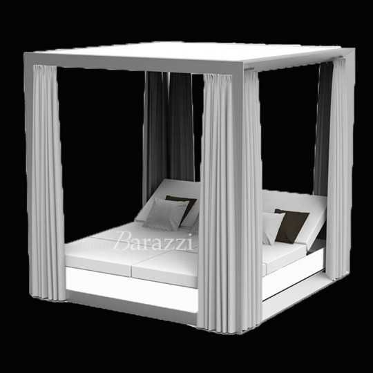 VELA DAYBED Carré Inclinable x4 Lumineux Blanc Pergola avec Rideaux - VONDOM