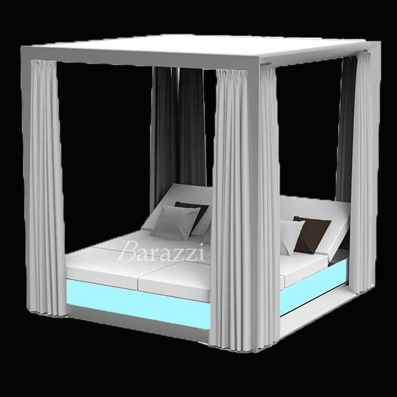 VELA DAYBED RGB LED Light Square Reclining x4 Canopy with Curtains - VONDOM