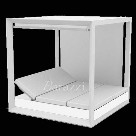 VELA DAYBED Carré Lumineux Blanc Inclinable x4 Pergola avec Stores - VONDOM