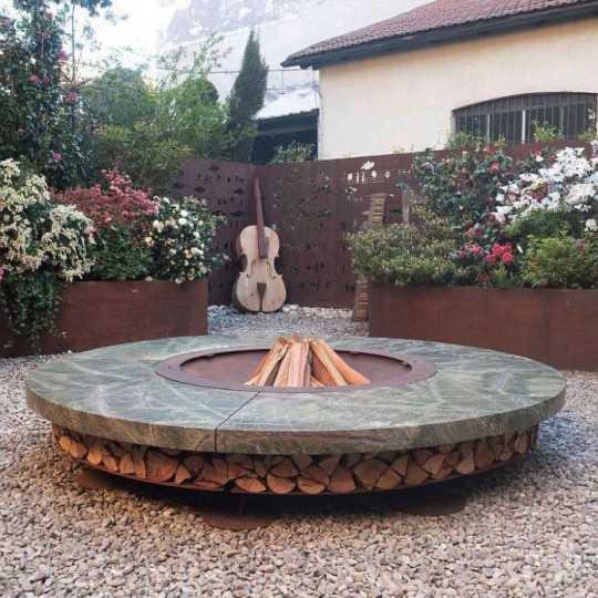 ERCOLE Rainforest Green Marble Outdoor Fire Pit 250cm diameter