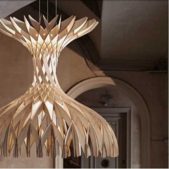 Dome 90 - LED Pendant Lamp In Beech Veneer