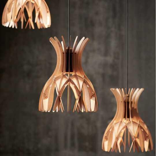 Domita S/20/3L Pendant Lamp - Natural Beech Wood - Bover
