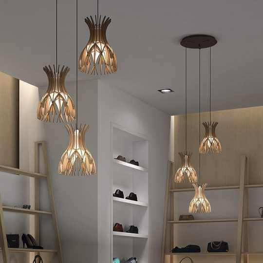 Domita S/20/4L Suspension Lamp - Wood finished beech - BOVER