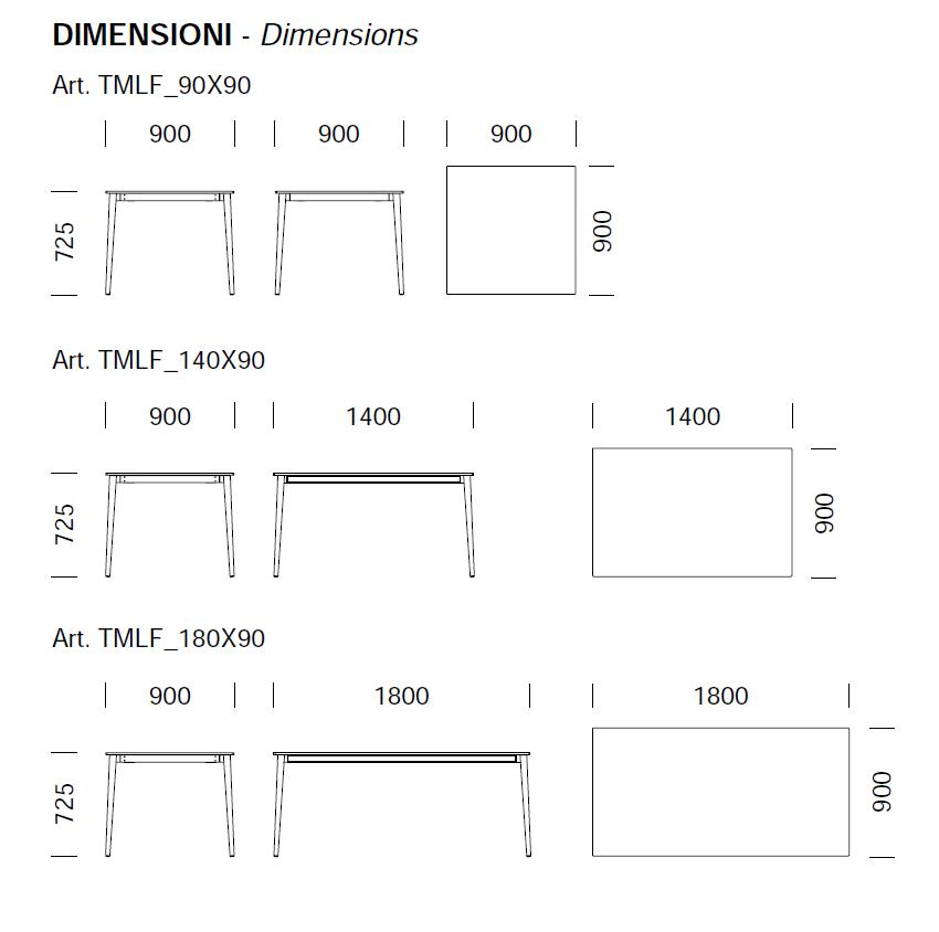 Dimensions de la table Malmo Pedrali