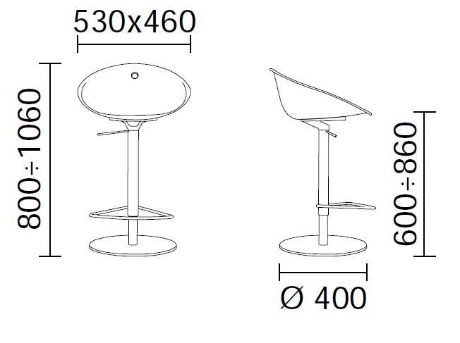 Tabouret grande hauteur d 39 assise pivotant gliss 970 par - Hauteur d un tabouret de bar ...