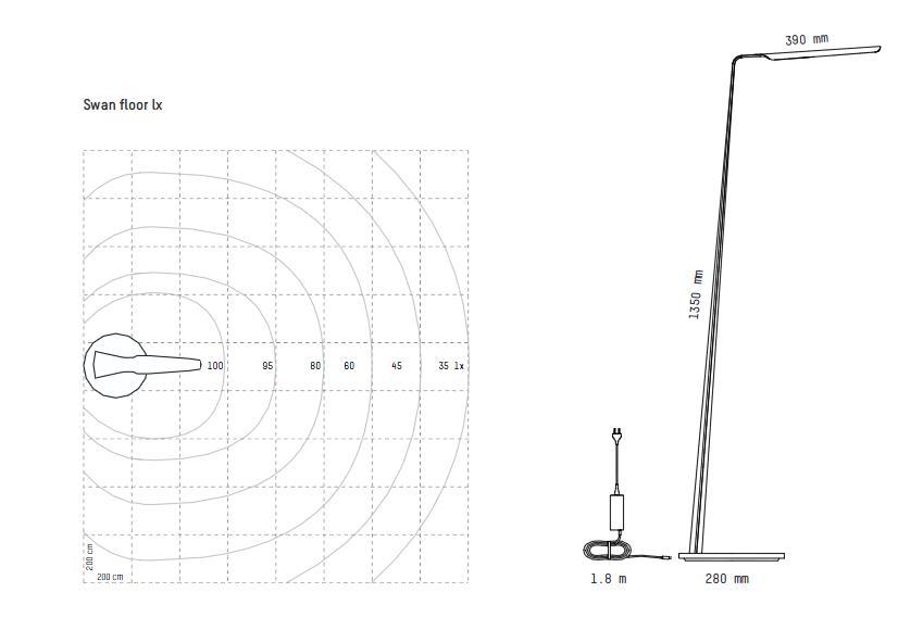 Dimension du lampadaire sur pied swan